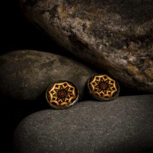 """Kõrvarõngad """"Mandala"""" - must/kuld"""